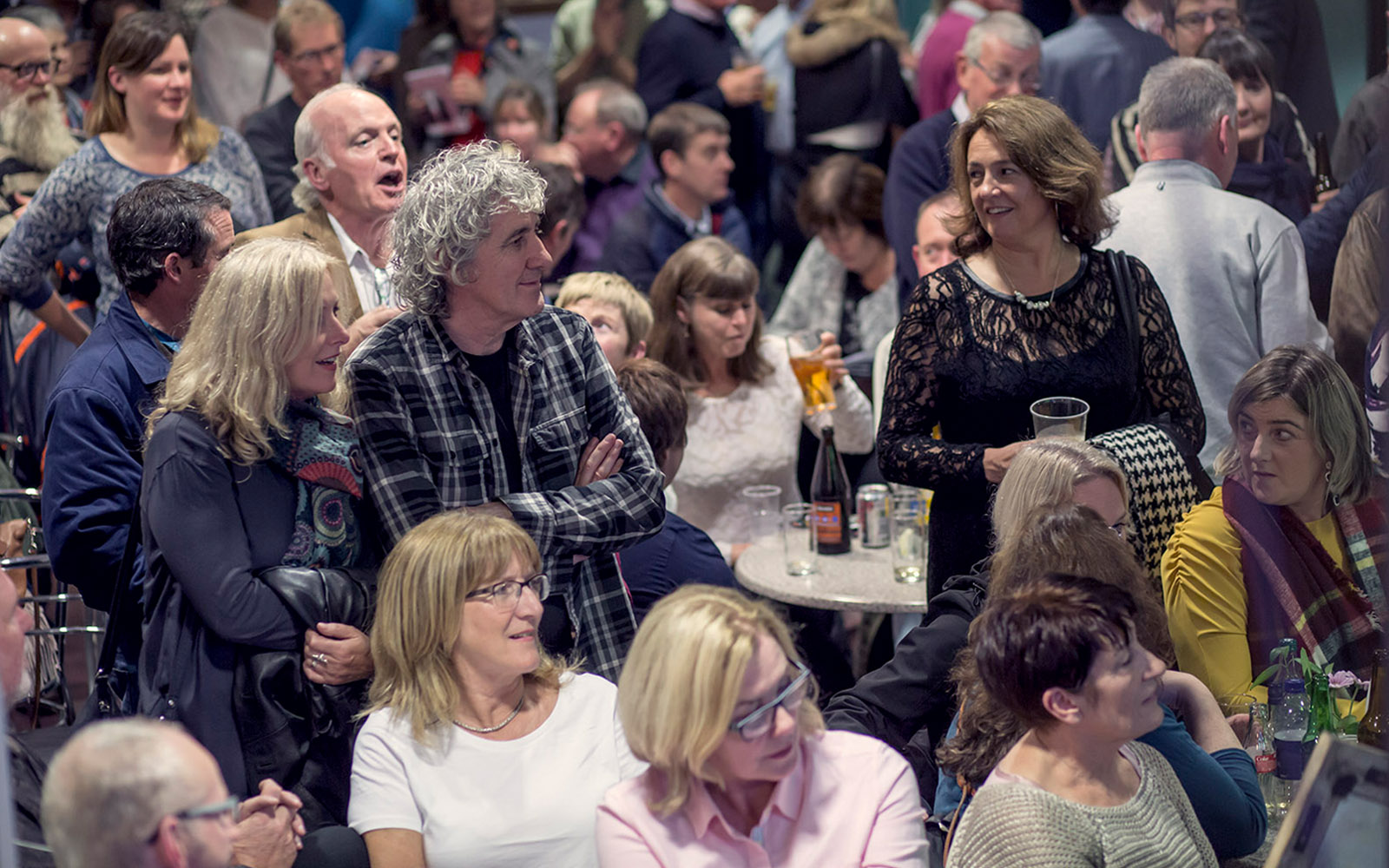 A busy bar night at An Grianán Theatre.
