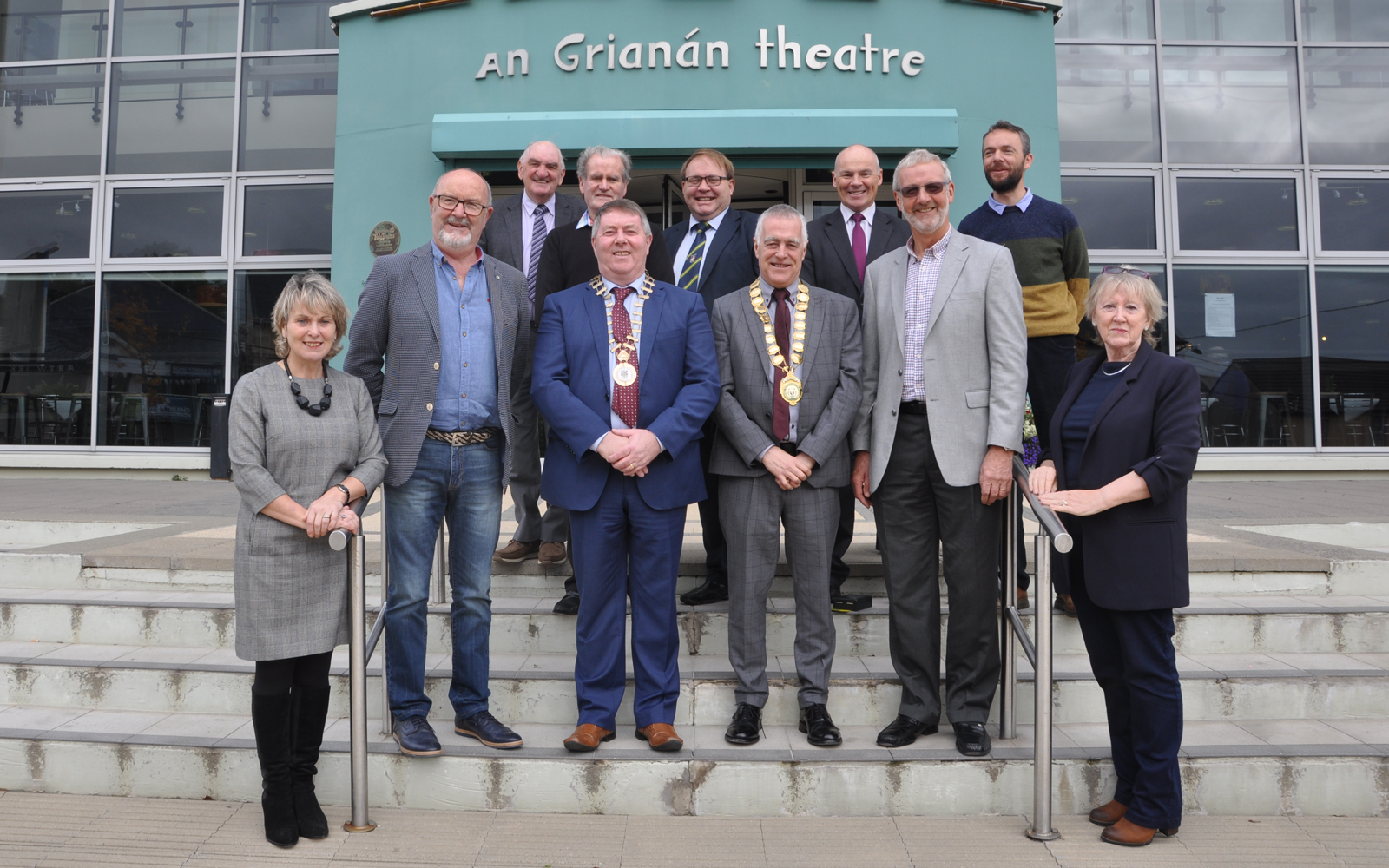 3 October 2017: Official launch of the All Ireland One Act Drama Finals which will be held in Letterkenny for the first time this December. Front row left to right: Jean Curran, John Travers, Mayor of Donegal Cllr Gerry Mc Monagle, Mayor of Letterkenny Municipal District Cllr Jimmy Kavanagh, Plunkett O'Fearraigh and Anne Mc Gowan. Back row left to right: Sean Mc Cormack, Cllr Ian Mc Garvey ,Cllr Michael Mc Bride, James Mc Laughlin A.I.B.and John O'Donnell.