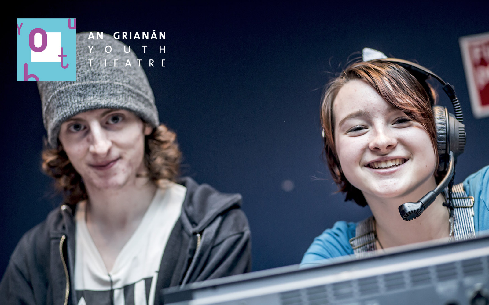 An Grianan Youth Theatre's Lee Russell, sound and Angel Humm, lights, for The Delphi Dilemma, The Catcher in the Rye and Blackadder Goes Forth in 2017.