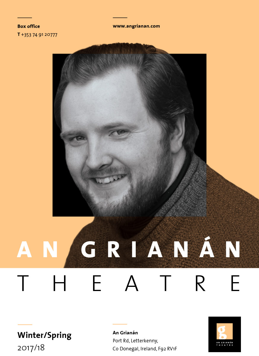 Cover of An Grianan Theatre's winter/spring 2018 events guide brochure
