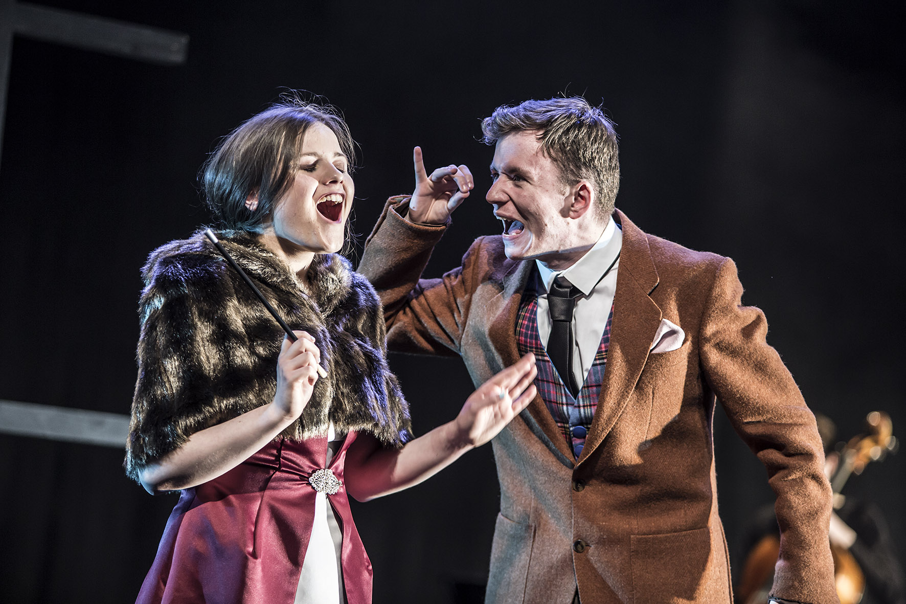 Shannen Wilkin and Adam Boyle in An Grianan Youth Theatre's The Wolves of Willoughby Chase. April 2018. Photo by Paul McGuckin. All rights reserved.