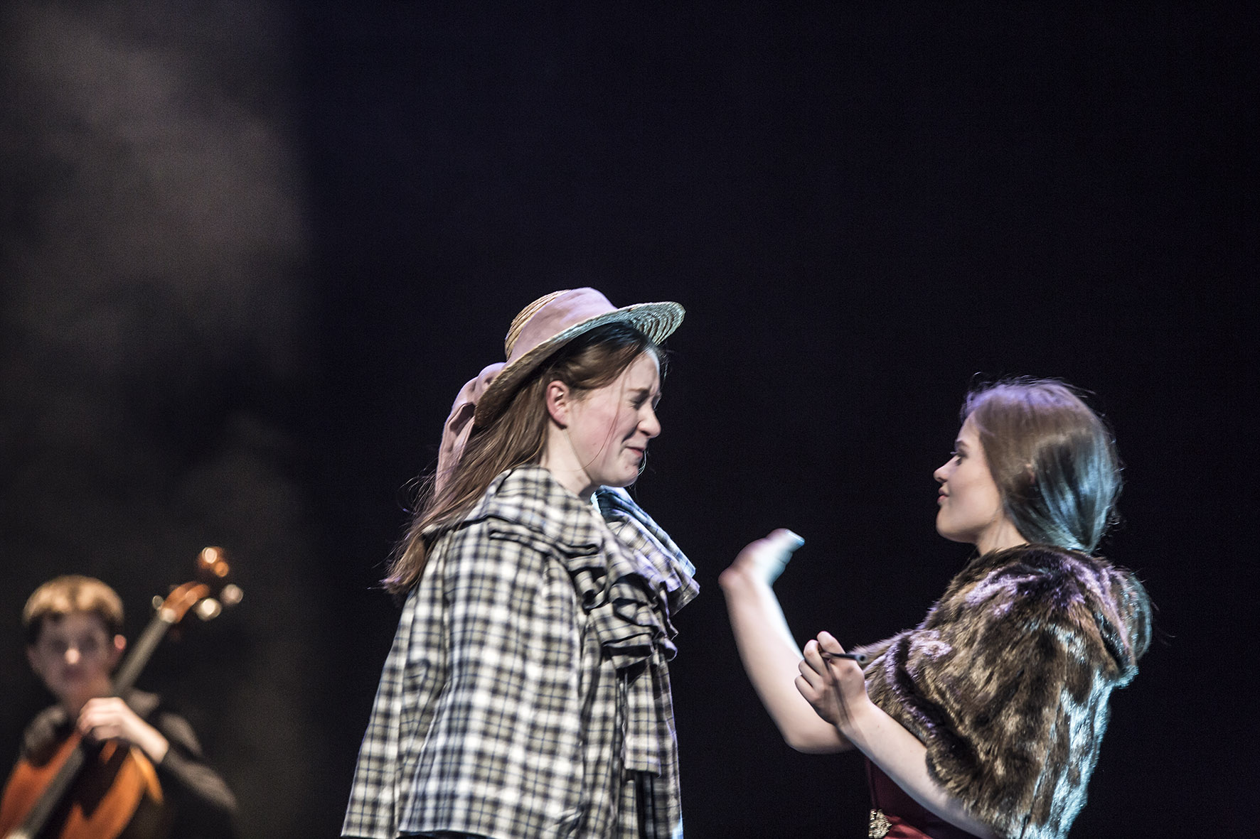 Alanna Sweeney and Shannon Wilkin in An Grianan Youth Theatre's The Wolves of Willoughby Chase. April 2018. Photo by Paul McGuckin. All rights reserved.