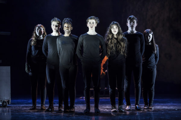 Left to right: Maeve Foley, Ryan Cunningham, Praise Adetuyi, Tadhg Brennan, Niamh Langan, Christopher Kilmartin and Kayleigh Gallagher Kenny in An Grianan Youth Theatre's The Wolves of Willoughby Chase. April 2018. Photo by Paul McGuckin. All rights reserved.