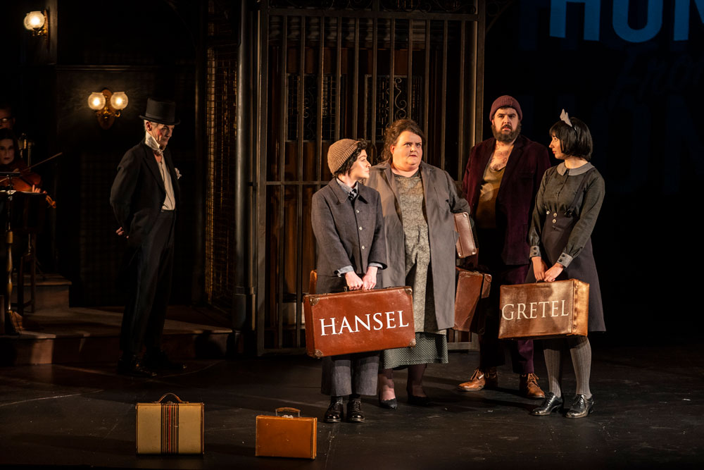 L-R: Raymond Keane (The Night Watchman), Raphaela Mangan (Hansel), Miriam Murphy (Mother), Ben McAteer (Father). Photo by Patrick Redmond.