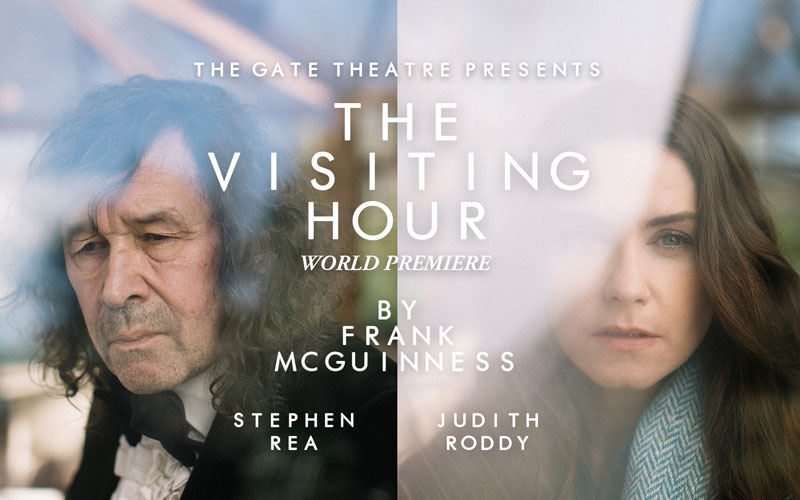 Title graphic for the Gate Theatre's livestream of The Visiting Hour by Frank McGuinness. Pictured on left is Stephen Rea and to his right is Judith Roddy
