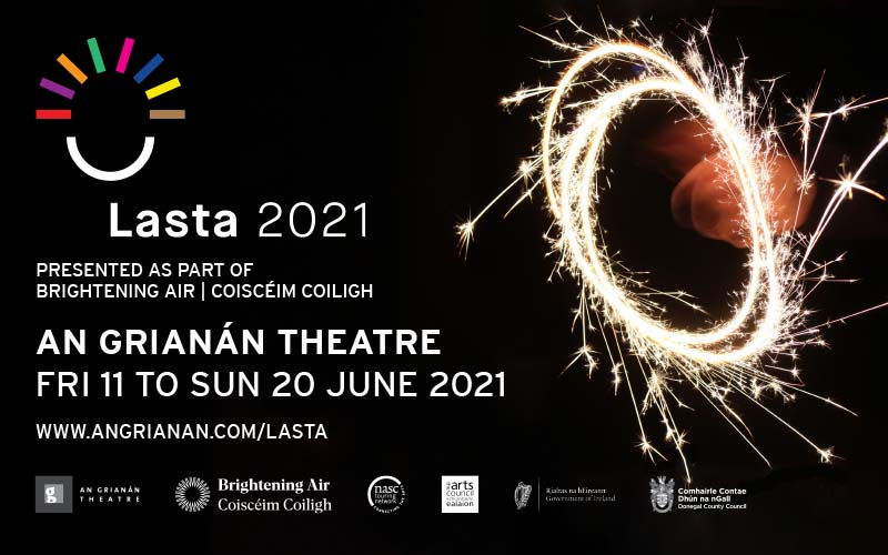Promotion image for Lasta festival shows a motion blurred image of a sparkler against a black background.
