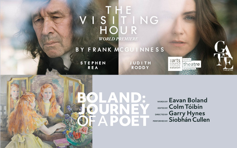 Title graphics for The Gate Theatre's The Visiting Hour by Frank McGuinness, Boland: Journey of a Poet by Druid Theatre.
