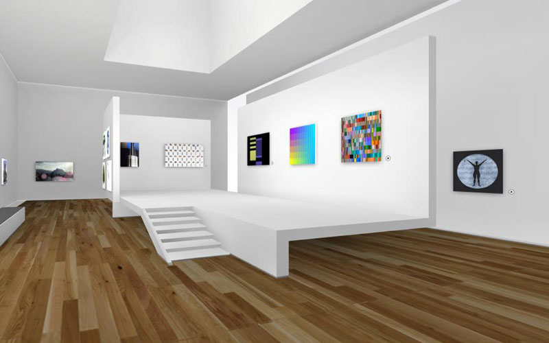 Image is of a digitally created virtual gallery with white walls and a wooden floor.