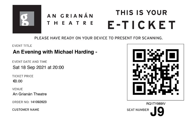Example of an e-ticket.